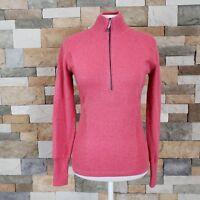Eddie Bauer Womens Sz S Punch Pink Textured 1/4 Zip Pullover Sweater Long Sleeve