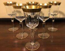 "6 Gold Encrusted Crystal Optic Wine Glasses 7 7/8"""