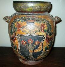Vintage Latin American? Mexican? Mystery Decorated Vase Snake Handles Signed