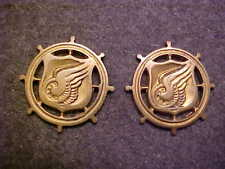 RARE PAIR OF WW2 US ARMY TRANSPORTATION CORPS OFFICER COLLAR INSIGNIA MEYER