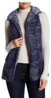 Poof Women's Blue Frosted Sleeveless Fleece Plush Vest