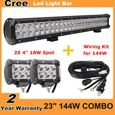 23inch 144W Led Light Bar Combo Offroad For Jeep SUV with 18W Spot + Wiring Kit