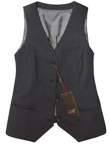 Dark Grey smart boho WOOL BLEND Tailored Waistcoat gilet bodywarmer UK 26 EU 54