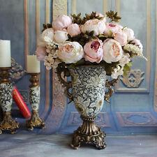 Realistic Artificial Peony Bridal Bouquet Silk Leaf Flower Wedding Home Decor
