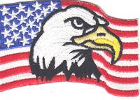 BALD EAGLE - USA - AMERICAN FLAG - PATRIOTIC - MILITARY - BIKER-Iron on Patch