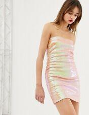 NWT Warehouse London ASHISH Ware ASHISH Sequin Bandeau DRESS 6 -18 Nude Pink Red