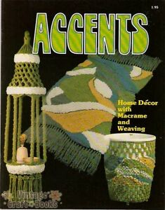 Accents Macrame Vintage Home Decor with Weaving Pattern Book Booklet NEW