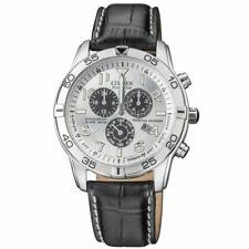 Citizen Citizen Eco-Drive 44mm Black Leather Strap Silver Dial Men Wristwatch (BL5470-14A)