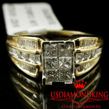 Ladies 14K Yellow Gold Genuine Princess Cut Diamond Engagement Wedding Ring Band