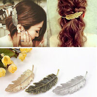 Women Leaf Feather Hair Clip Hairpin Jewelry Barrette Bobby Pin Hair Accessories