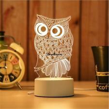 Owl LED Warm White 3D Light Table Desk Lamp Color Changing Bedroom Decoration