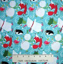 Christmas Fabric - Winter Wonderland Fox Penguin Snowman Skate Free Spirit YARD