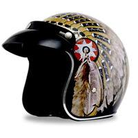 DOT Motorcycle Helmet Open Face Indian Chief Print Half 3/4 Scooter Helmet Retro