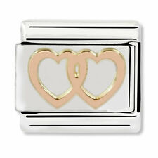 GENUINE Nomination Classic Rose Gold Double Hearts Charm 430104/08 / £15 RRP