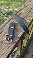 Handmade Black 18mm Oil-Tanned Leather Watch Strap (Red Stitch, Vintage Style )