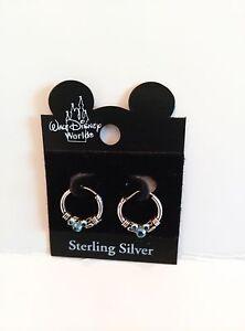 DISNEY Mickey Mouse Icon Austrain Light Blue Crystal Hoop Earrings on a Card