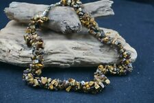 Genuine Tigers Eye Nugget Artisan Estate Chunky Statement Necklace