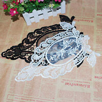 EG_ WHITE BLACK FABRIC VENISE LACE FLOWER FLORAL MOTIF SEWING TRIM APPLIQUE ACTU