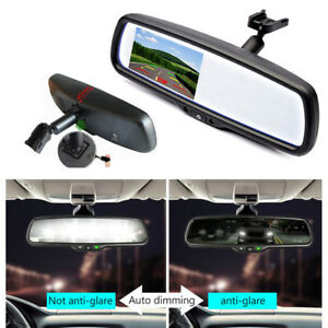 """Car 4.3"""" Auto Dimming TFT LCD Rear View Mirror Monitor Backup 2CH Video+Bracket"""