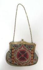 Antik Damen Abendtasche Art Deco Petit Point Stickerei feine 800 Silber Montur