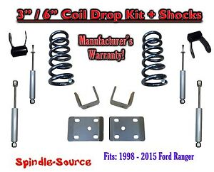 "1998 - 2015 Ford Ranger 4 Cyl. Reg Cab 2WD 3"" / 6"" Drop Lowering Kit + SHOCKS"