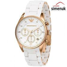Emporio Armani AR5920 Reloj para Mujeres Blanco Rosa Dorado Para Dama con Cronógrafo de silicona