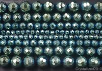 Natural Hematite Gemstone Green Plated Faceted Round Beads 4mm 6mm 8mm 10mm 15''
