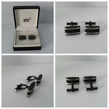 Montblanc Cufflinks Authentic PVD Stainless Steel - Rubber Star Inlay BRAND NEW