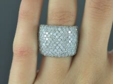 $8,550 18K Solid White Gold 4.00ct Round Pave Diamond 17mm Cocktail Ring Size 8