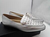 Amazon Brand - The Fix Women's Dakoda Silver Flat Head Stud Loafer size 9.5 M