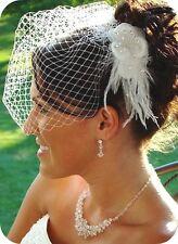 Wedding bridal Floral Feather crystal fascinator w/birdcage french veil White