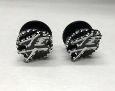 2 Hayabusa Passenger Foot Peg Exhaust Hanger Plugs Black Silver 3D Ball Cut Edge