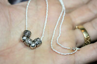 """Italian Glam 925 Solid Sterling Silver Bead Shiny Necklace 16"""" 2 MM Rope Chain"""