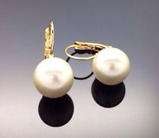 Gorgeous Pearl Drop Earring Wedding Formal Bridesmaid 14ct Gold GP 12mm
