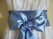 "3.5""X60"" CORNFLOWER BLUE SATIN SASH BELT SELF TIE BOW UPDATE DRESS PROM PARTY"