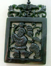 Black Green Jade Happy Lucky Money God Mammon Coins Frog Toad Pendant 2Faces