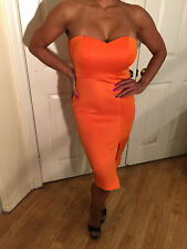 Connie's Strapless Orange Tube Midi Dress Size runs big XS