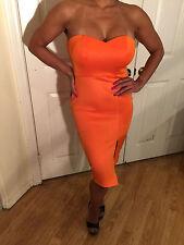 Connie's Strapless Orange Tube Midi Dress Size runs big M