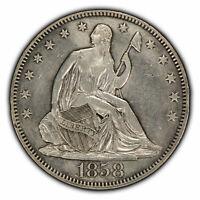 1858 50c Seated Liberty Silver Half Dollar - AU Details - SKU-H1103