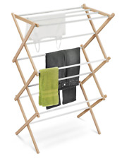 Clothes Drying Rack Wooden Laundry Hanger Indoor Outdoor Dryer Folding Organizer