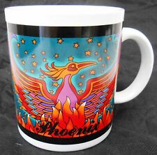 Ceramic Red & Blue coffee tea mug 3¾ x 3¼ Phoenix Bird on Fire White inside