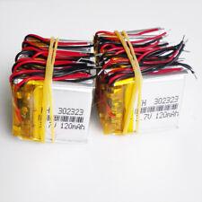 10 PEZZI 3.7 V 120 mAh Lipo Batteria 302323 RICARICABILE PER MP3 MP4 Smart Watch GPS