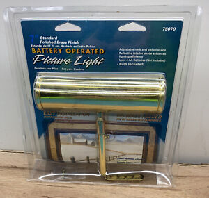 """ANGELO 7"""" Polished Brass Picture Light  Model 75070 / NEW IN PACKAGE Battery"""