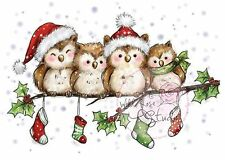 Christmas Owls On A Branch Unmounted Rubber Stamp Wild Rose Studio #CL460 New
