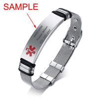 Women Men Silver Medical Alert ID Name Bracelet Watch Tag Custom Free Engraving