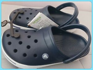 NEW Crocs Crocband II Navy Blue White Clogs Shoe Size Women's 8 / Men's 6 US
