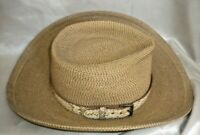 Eric Javits Women's Brown Woven Straw Hat with Leather Band