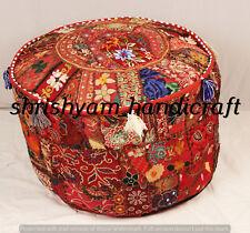 "Bohemian Patchwork Pouf Cover Ottoman Ethnic Decor Indian Pouffe Footstool 22"""
