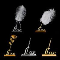 Romantic Freestanding Signing Pen Rose Flower Feather Love Holder Wedding Favors