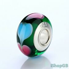 High Quality Silver Plated 925 Stamp Heart Murano Glass Bead Charm Fit Bracelet